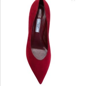 Prada Red Suede Pumps